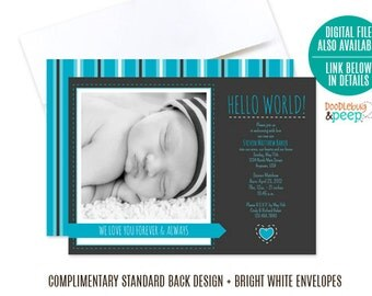 Boy Adoption Invitation, Printed Adoption Invite, Hello World Adoption Invite, Baby Boy Adoption Invitation PRINTED - Item# DBP1004