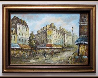 60s Mid Century Modern Large Original Oil Painting French Street Scene L. Stanio