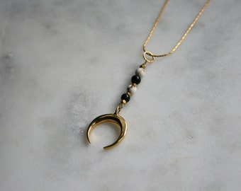 Onyx and White Howlite Crescent Necklace