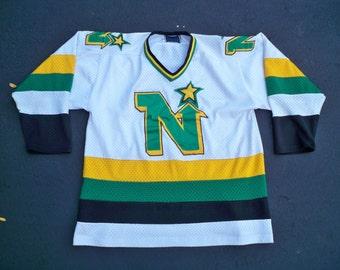 Vintage Alpha Minnesota North Stars NHL Hockey League Jersey Uniform Size Medium Logos all stitched on