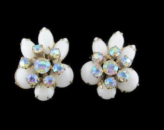 Vintage White Milk Glass Aurora Borealis Rhinestone Flower Clip Earrings