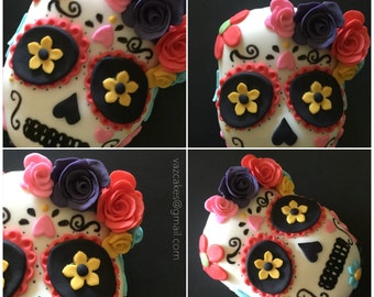Dia de los muertos cake topper sugar skull, day of the dead