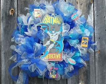 Superhero Wreath, Comic Book Wreath, Batman Wreath, THE CAPED CRUSADER Deco Mesh Batman Boys' Room Superhero Wreath