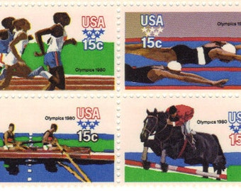 1979 22nd Summer Olympic Games 15 cent US Postage - Unused Block of 12