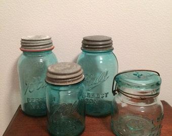 Vintage E-Z Seal Atlas Ball Jar Blue 1933 1962 Ball Mason Jars Blue Jar with Lids Set of 4
