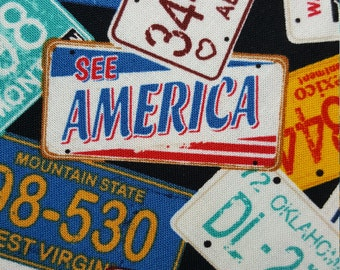 Quiltsy Destash Party--USA license plates--fabric by the yard--Timeless Treasures