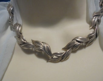 Sterling Silver Vintage Leaf Link Necklace  18 in.