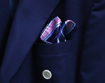 SILK Pocket Square with Pink Stripes and Navy Blue