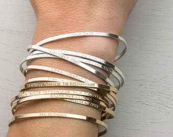 Personalized Cuff Bracelet, Inspirational Bracelet - Stacking Dainty Cuff Mantra - Personalized OR Blank / by Layered and Long, LB128