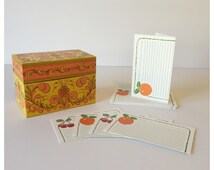 Vintage Avon Metal Recipe Card Box, Orange Card Box, Mid Century Recipe Card Box, Current Recipe Cards, Recipe Storage Box