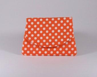 Orange Polka Dot Business Card Holder Purse Organizer Billfold Change Purse Cotton