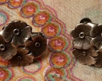 Sterling Screw Back Flower Earrings