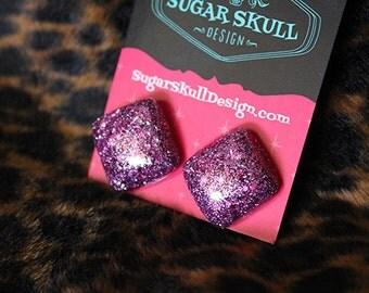 Pink Sparkle Resin Post Earrings - Square Diamond Shape
