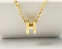 Markdown, Alphabet H, AH-G6, 2 pcs, 7.9x6.1x4.3mm, Hole size 1.9x2.9mm, Captial letter, 16K gold plated brass, Not easily tarnish