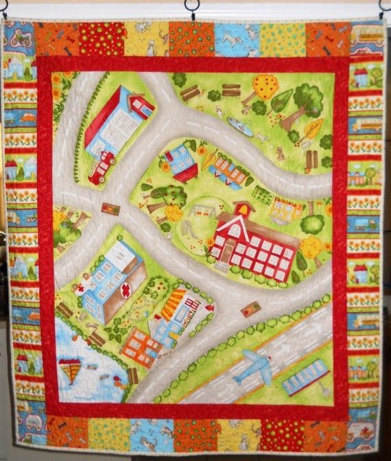 Quilted Town Play Mat For Playing Hot Wheels Cars Or Princess