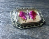 Antique Reverse Intaglio MOTH or Butterfly Brooch - Opal Foil Back, Art Deco, GRATEFUL20 for 20% off your entire order