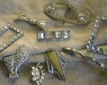 Vintage DECO Rhinestone Jewelry lot
