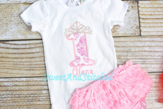 Pink Princess First Birthday Outfit, Pink Princess Birthday shirt and lace ruffle bloomers, Girls Princess Birthday outfit pink and silver