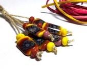 Lampwork Glass bead handmade Beads yellow, magenta, coral, purple.