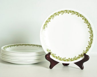 Vintage Corelle Spring Blossom Salad Plates, Set of 8 Corning Green Crazy Daisy Plates