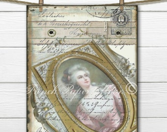 Digital French Love Letter, Romantic Victorian Woman Download, Vintage French Collage Sheet, French Pillow Image