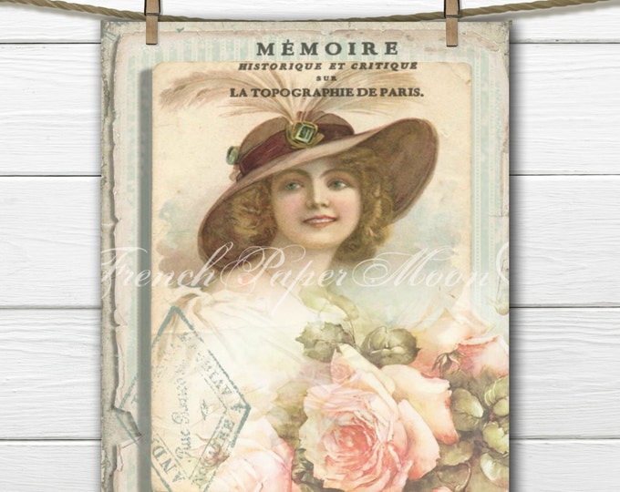 Digital Shabby Romantic Victorian Lady, Roses, French Graphics, French Pillow Image, Graphic Transfer