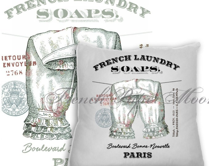 Digital Shabby Cic French Laundry Graphic,  Victorian Bloomers, Pantaloons, Washing Line Download, French Washing