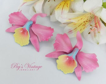 Vintage Pink Hawaiian Orchids Flower Earrings/Liberty House Orchid Hawaii Tropical Jewelry