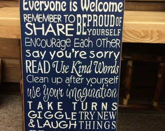 Playroom Rules... - Rustic Nursery Sign, Primitive, Country Home Decor