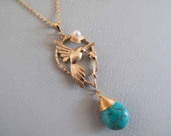Turquoise Gold Bird Necklace - Bridesmad Gift