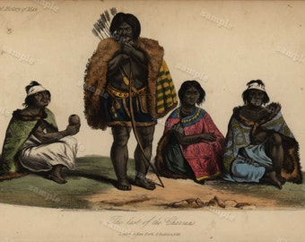 1844  Original Antique Engraving of Human Race Natives  Hand colored
