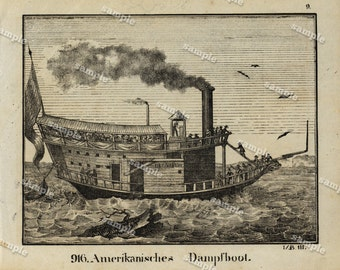 1830 Original Antique Engraving of  American - steam boat Black and white