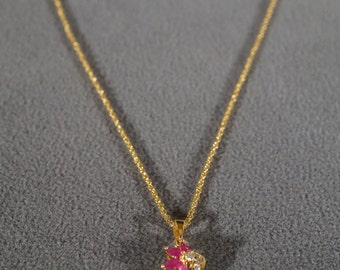 Vintage Sterling Silver Yellow Gold Overly 4  Marquise Ruby 6 Round White Topaz Fancy Pendant Charm Necklace Chain      #714