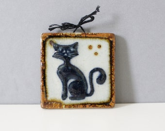 Tonala Mexico Pottery Tile Cat Mexican Handmade Mid Century