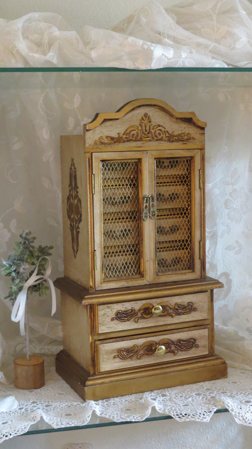 Large jewelry armoire box florentine wooden