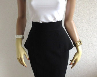 Peplum Pencil Skirt High Waist Basque