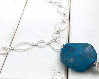 Blue Necklace, Pendant Necklace, Long Necklace, Long Silver Necklace, Blue Pendant Necklace