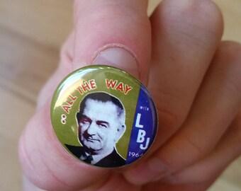 1964 Lyndon Johnson LBJ Genuine Imitation Campaign Button