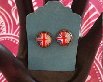 union jack clip on earrings
