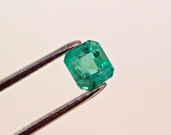 6mm 1.46 ct Square Cut Natural Colombian Emerald Loose Gemstone
