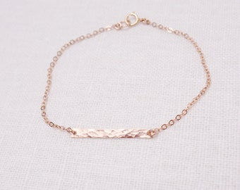 Rose Gold Bracelet, Rose Gold Bar Bracelet, Hammered Bar Bracelet