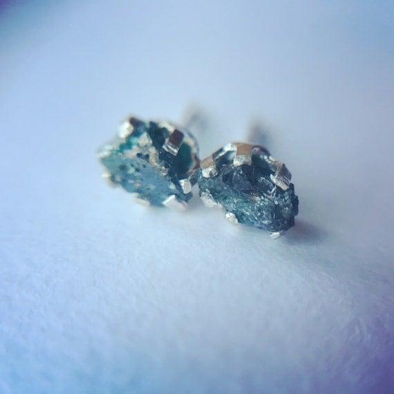 raw blue diamond stud earrings rough blue diamond studs raw