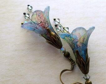 """Lucite Flower Earrings, """"Cottage Garden"""" Victorian Earrings, Boho Earrings, Hand Painted, Dangle Earrings, Swarovski Crystals, Drop Earrings"""