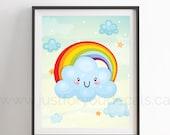 Happy Sun and Rainbow Poster - Inspirational Poster, Nursery Wall Art - Playroom Poster - Poster Nursery Art, Alphabet Poster - 24-0003