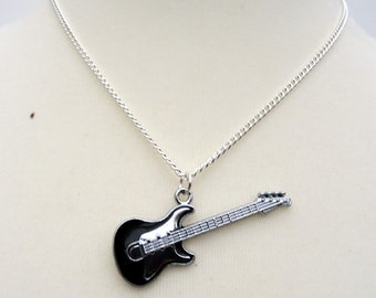 Guitar necklace, black silver bass guitar charm on silver chain, rock & roll music, guitarist, musician