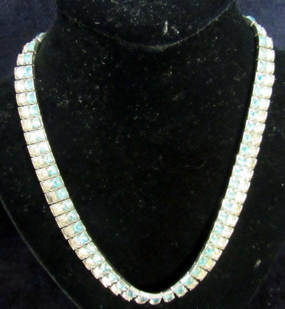 Aqua rhinestone choker 1940's necklace