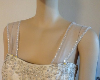 Removable  beaded tulle straps # 34