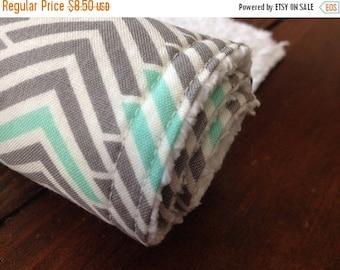 SALE Chenille Burp Cloth ~ Geometric/Tribal/Triangle/Chevron/Mint/Grey/Gray