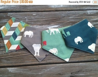 SALE ORGANIC Baby/Toddler Bandana/Scarf/Neckerchief/Drool Bib ~ Serenget/Safari/Elephants/Herringbone