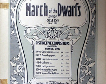 "1924 Sheet Music, March of the Dwarfs"" by Edvard Grieg"